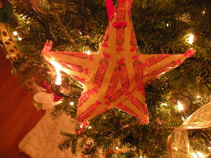The Smarties Star - sent to us by a college roommate who apparently ate a few of these with Lisa at UNC