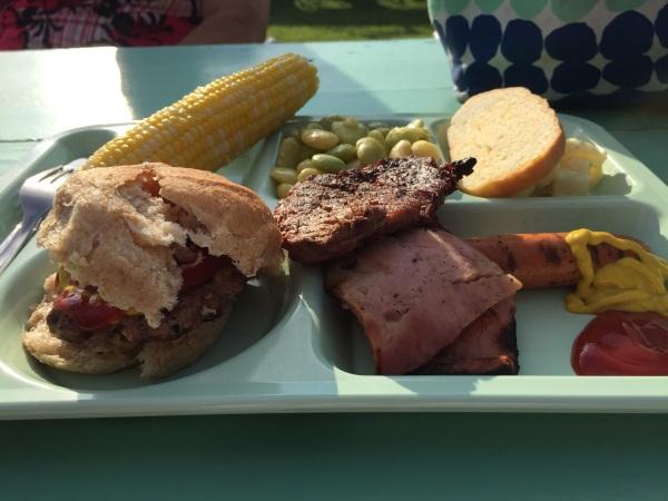 Hamburgers, grilled ham, steak and hot dogs! Mmmm.